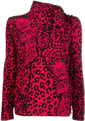 RED Valentino Leo Panther scarf-neck top