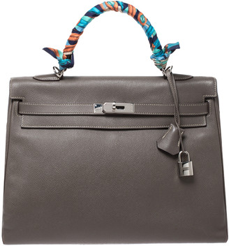 Hermes Taupe Epsom Leather Palladium Hardware Kelly Retourne 35 Bag