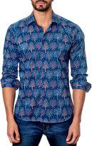 Jared Lang Tree-Print Sport Shirt, Blue