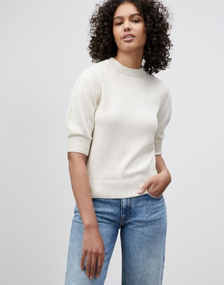 Lafayette 148 New York Cotton Silk Tape Blouson Sleeve Sweater