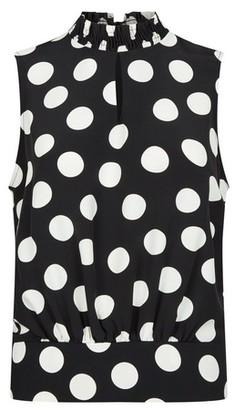 Dorothy Perkins Womens Black Spot Print Shirred Sleeveless Top, Black