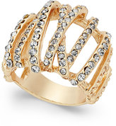 INC International Concepts Gold-Tone Braided Crystal Statement Ring, Only at Macy's