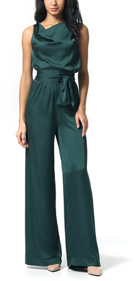Anette Women's Jumpsuits Green - Green Blouson Tie-Waist Silk-Blend Jumpsuit - Women & Plus