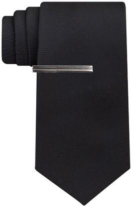 Van Heusen Men's Patterned Skinny Tie With Tie Bar