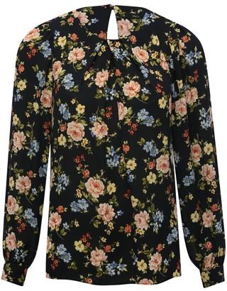 M&Co Floral pleat front top