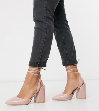 Raid Wide Fit Samira ankle tie heeled shoes in blush croc
