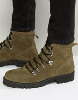 Asos Hiker Boots In Khaki Suede