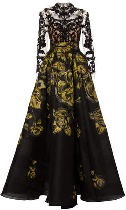 Marchesa Floral-Embroidered Silk-Jacquard and Lace Gown