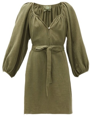 Loup Charmant Raw-hem Organic-cotton Gauze Dress - Dark Green