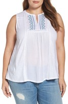 Lucky Brand Plus Size Women's Embroidered Mixed Media Tank