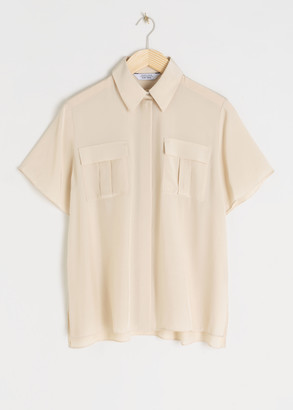 And other stories Modal Blend Sheer Button Up Shirt