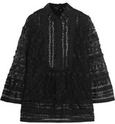 Anna Sui Faux Leather-Trimmed Lace And Tulle Blouse
