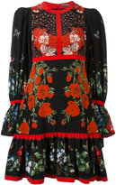 Alexander McQueen floral tablecloth empire line mini dress - women - Silk - 40