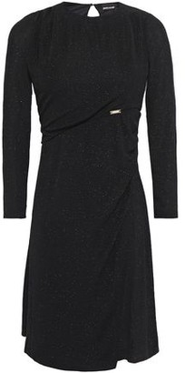 Just Cavalli Wrap-effect Glittered Stretch-knit Mini Dress
