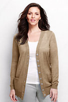 Lands' End Women's Plus Size Merino Long V-neck Cardigan Sweater-Light Sea Heather