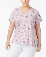 Style&Co. Style & Co Plus Size Cotton Floral-Print Top, Created for Macy's