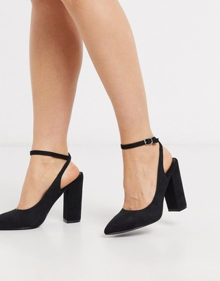 Truffle Collection pointed block heeled shoes in black