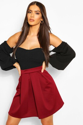 boohoo Basic Box Pleat Skater Mini Skirt