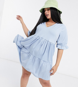 Yours frill tiered smock dress in blue