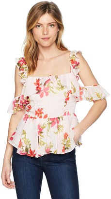 GUESS Women's Sleeveless Daydream Chiffon Peplum Top Shirt