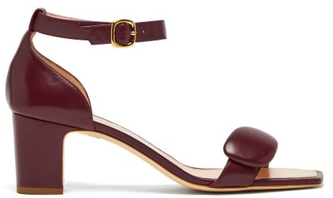 Rupert Sanderson Melissa Square Toe Leather Sandals - Womens - Burgundy