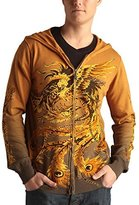Ed Hardy Mens Skull And Rosses Zip Up Hooded Sweater - Parachute