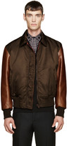 Givenchy Green & Brown Leather Sleeve Bomber