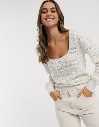 ASOS DESIGN jumper with scoop neck and pointelle stitch