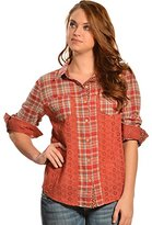 Miss Me Junior's Mix Matched Plaid Long Sleeve Shirt
