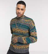 Asos Design DESIGN Tall textured crew neck sweater in multi color design