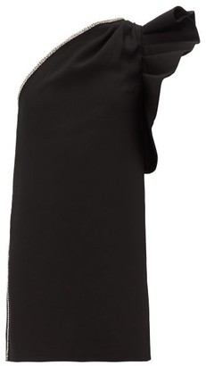 Self-Portrait Crystal-embellished One-shoulder Crepe Dress - Womens - Black