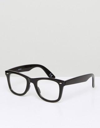 clear Asos Design ASOS DESIGN square fashion glasses in black with lenses