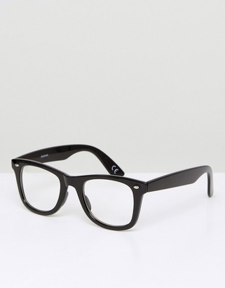 ASOS DESIGN square fashion glasses in black with clear lenses