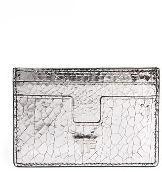 Tom Ford Metallic Crackled Leather Card Holder