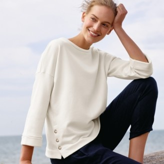 The White Company Jersey Button Side Sweatshirt, Ivory, 6