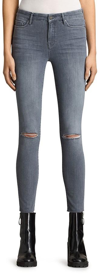 AllSaints Grace Slashed Jeans in Gray