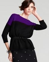 Aqua Cashmere Sweater - Gwen Two Color Block Boxy Pullover