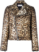 RED Valentino leopard print biker jacket - women - Polyester/Cotton/Polyamide/Acetate - 40