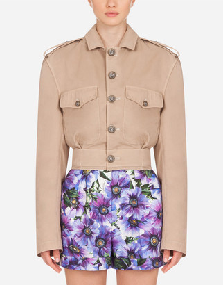 Dolce & Gabbana Cropped Cotton Fabric Jacket
