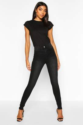 boohoo Tall Raw Hem Washed High Rise Jegging