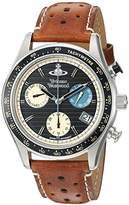 Vivienne Westwood Sotheby Men's Quartz Watch with Black Dial Chronograph Display and Brown Leather Strap VV142BKTN