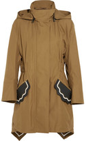 Fendi Hooded Leather-trimmed Cotton-taffeta Parka - Army green