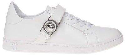 Versus New Mens White Lion Lo-Top II Leather Trainers Lace Up