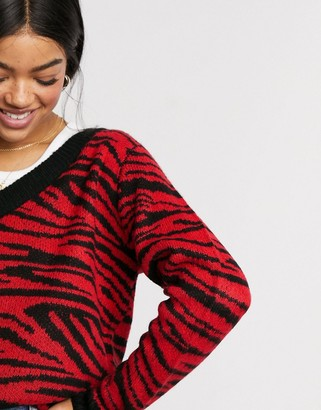 Brave Soul zebra jacquard v neck jumper