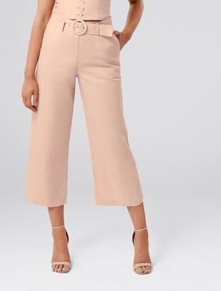 Forever New Elise Petite Linen Blend Pant - Almond Blossom - 4