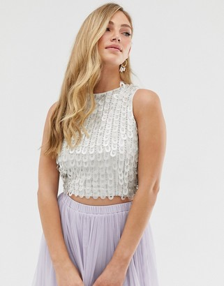 Lace & Beads embellished crop top in white and silver iridescent