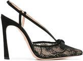 Giambattista Valli sling-back lace pumps - women - Cotton/Leather/Suede - 38.5