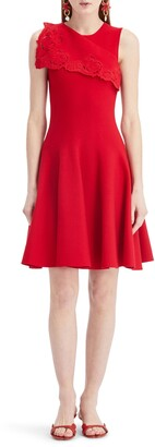 Oscar de la Renta Sleeveless Draped A-Line Sweater Dress