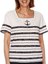Alfred Dunner All Aboard Short-Sleeve Anchor Stripe Tee - Petite