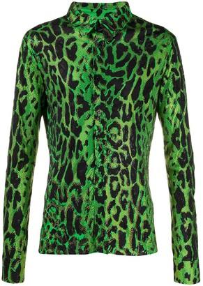 Versace Rhinestone Leopard Print Shirt